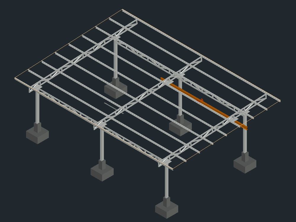 Metal roof made in autocad 3d