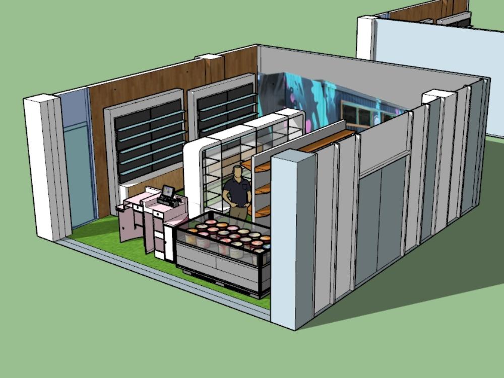 Design of mini groceries shop in condo