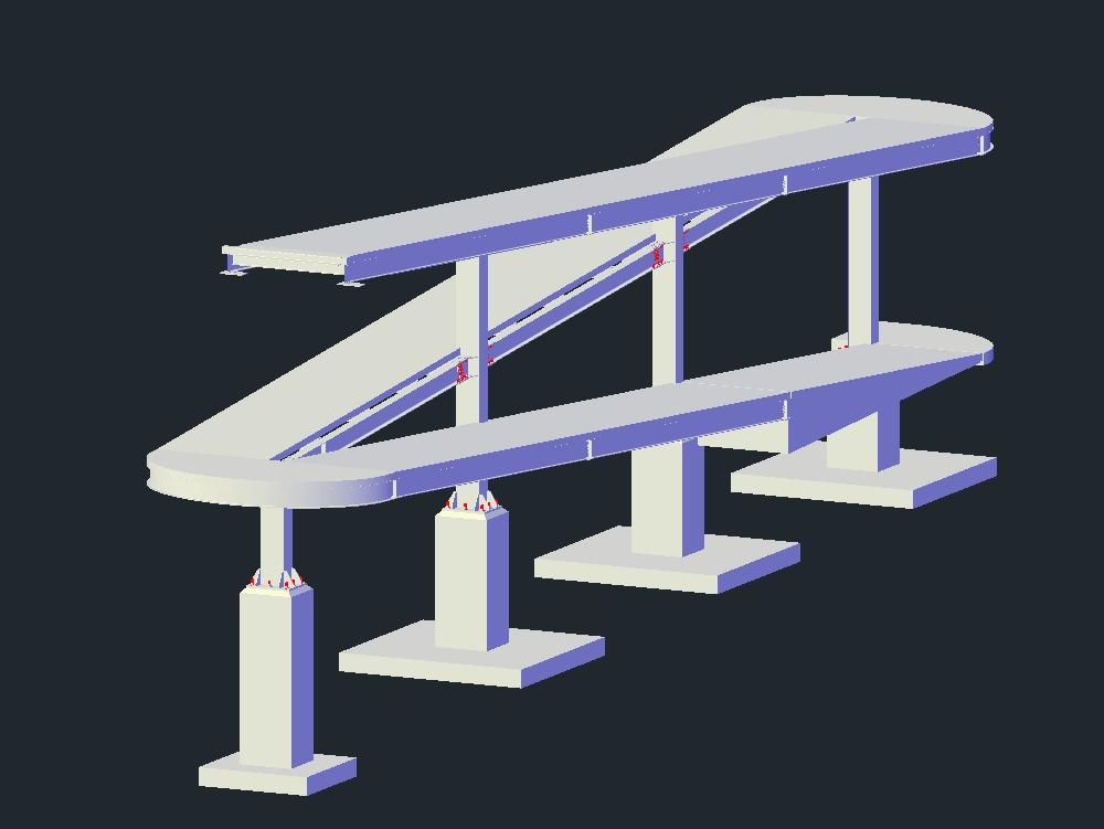 Detalle de rampa peatonal de acero para puente