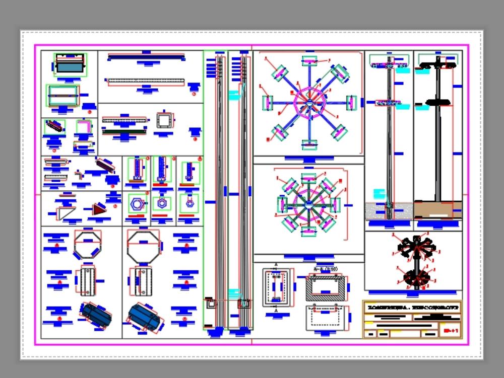Plano de postes y sus pastorales en naves