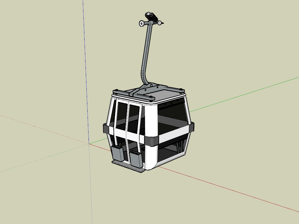 Detailed cable car cabin