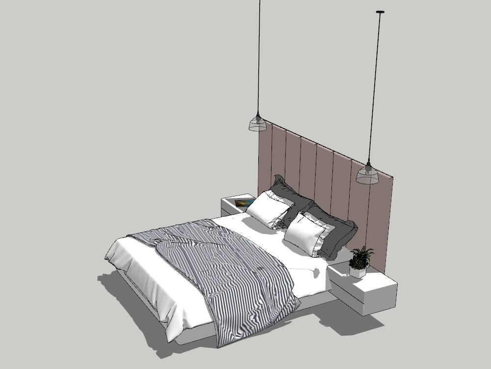 Two-seater bed with nightstands