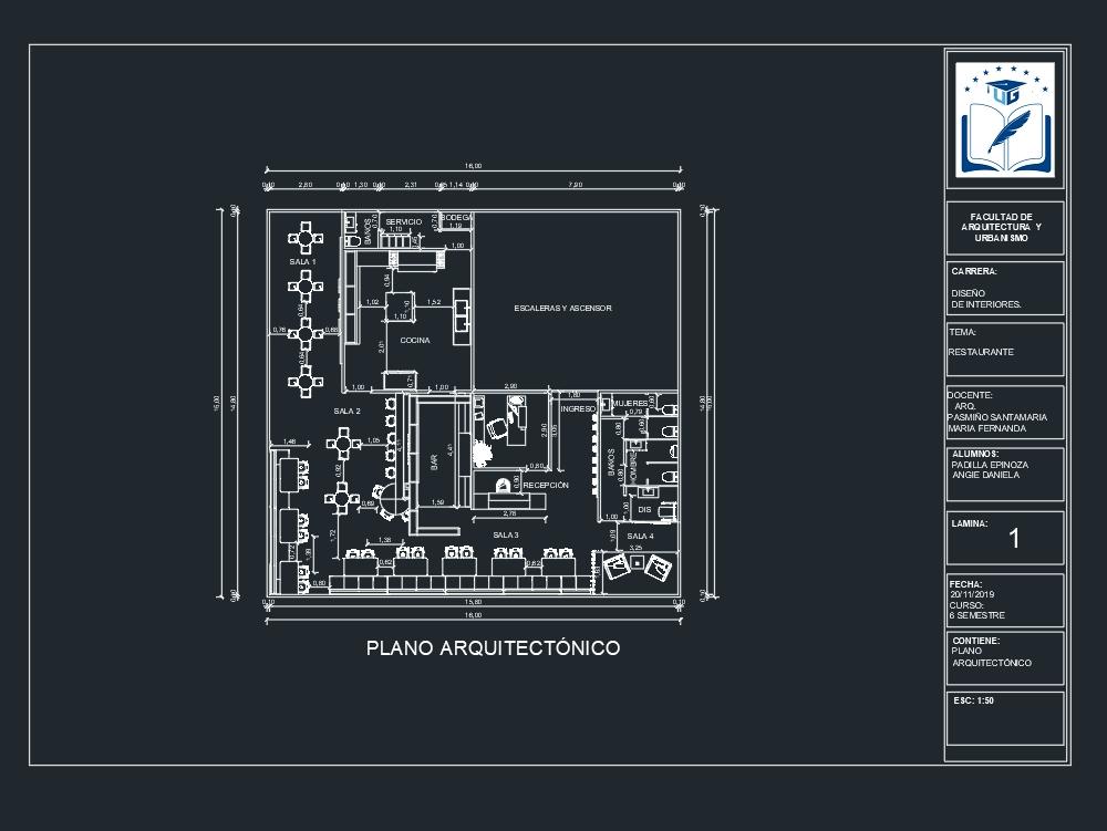 Architectural plan bar restaurant