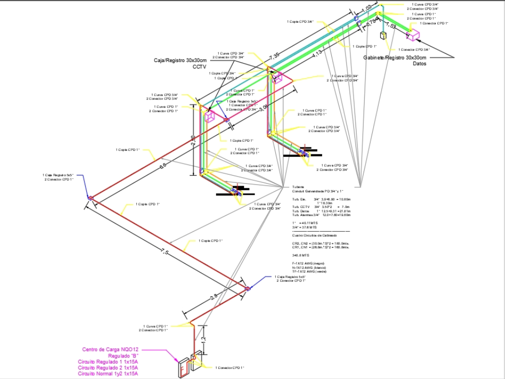 Isometric installation of piping and wiring