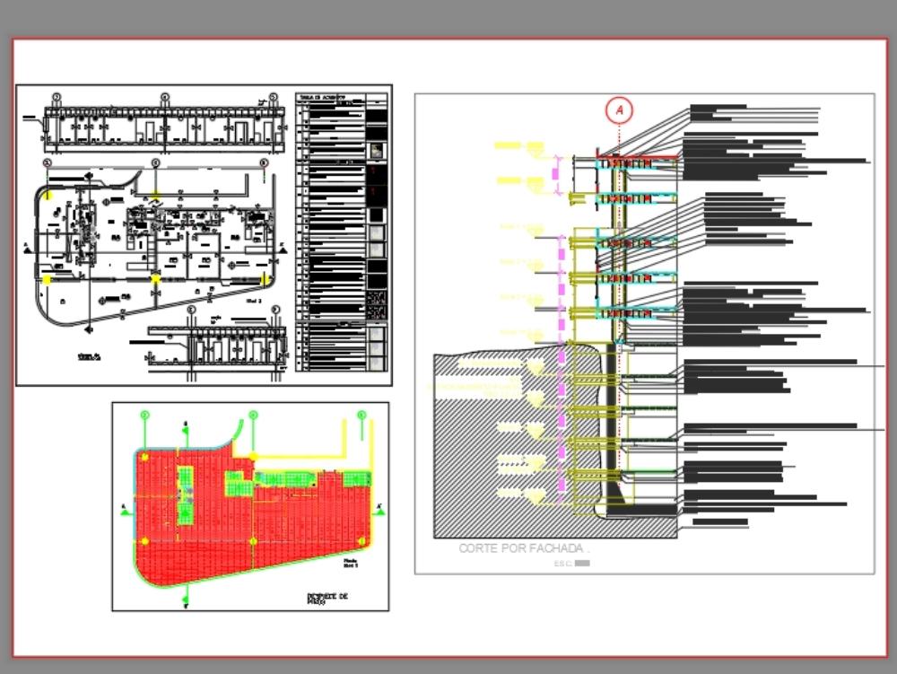Corte por fachada y acabados de edificio de gran altura