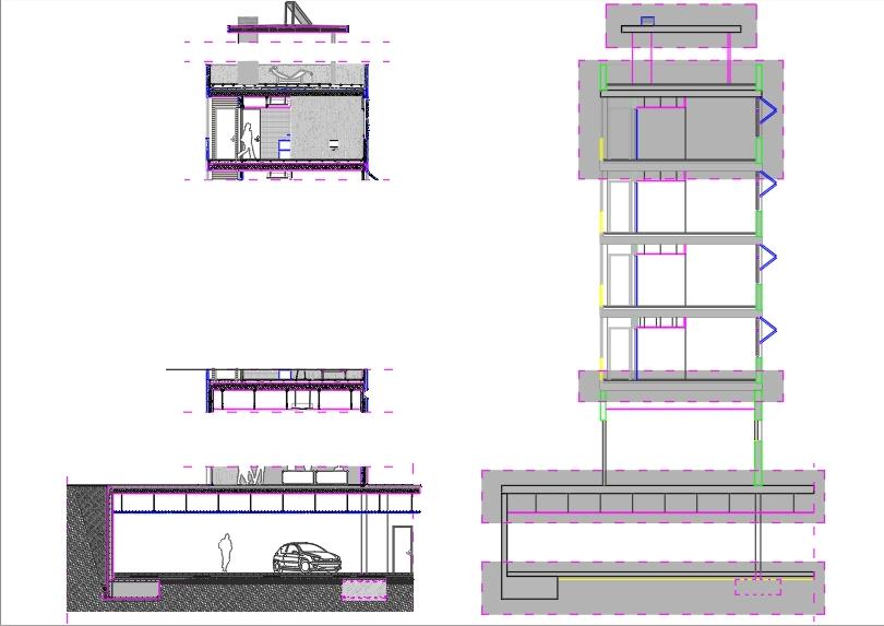 Sección constructiva edificio de departamentos
