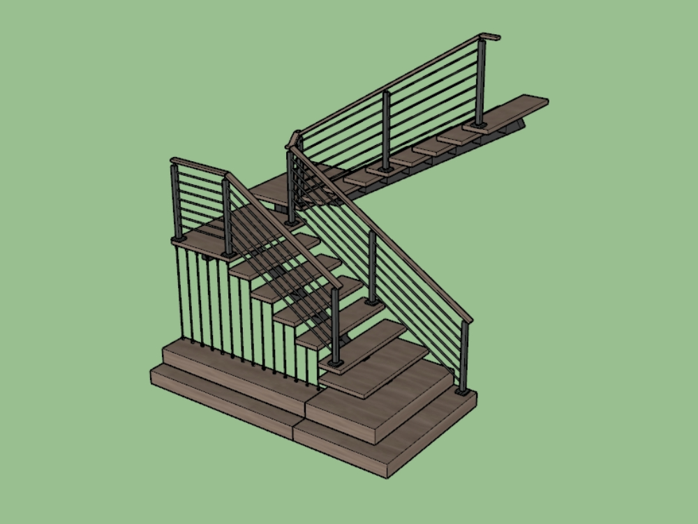 Wooden staircase with cable-stayed structure