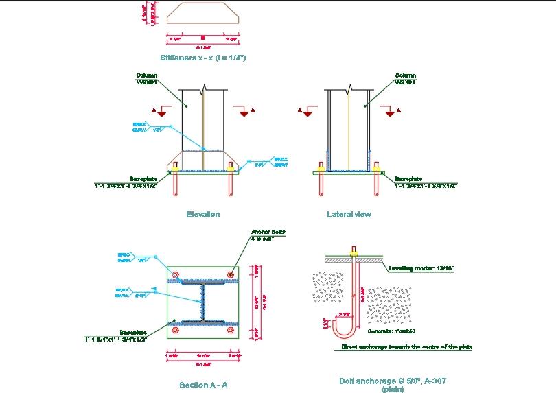 Placa base acero unión columna-zapata