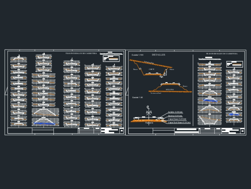 Cross sections dwg for civil ing