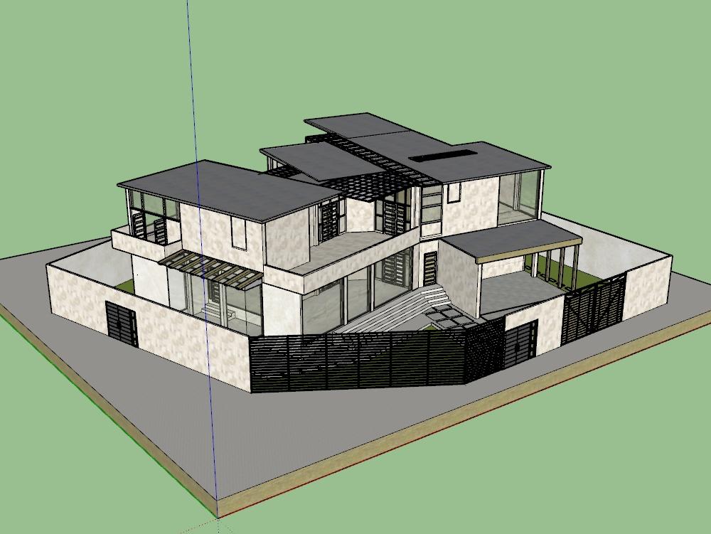 Vivienda unifamiliar de 2 pisos y techos planos