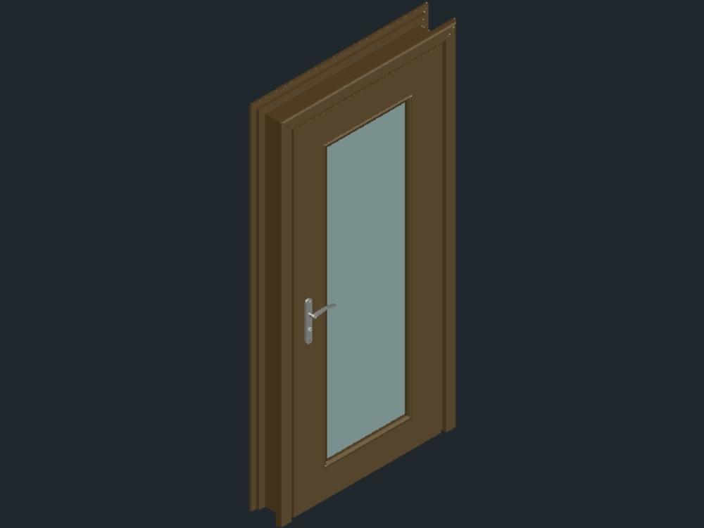 Wooden door with double glazing