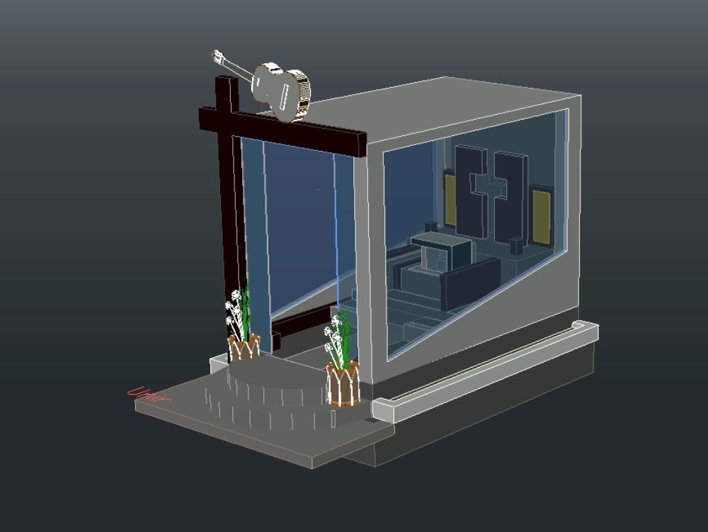 Plano de una tumba en tres dimensiones