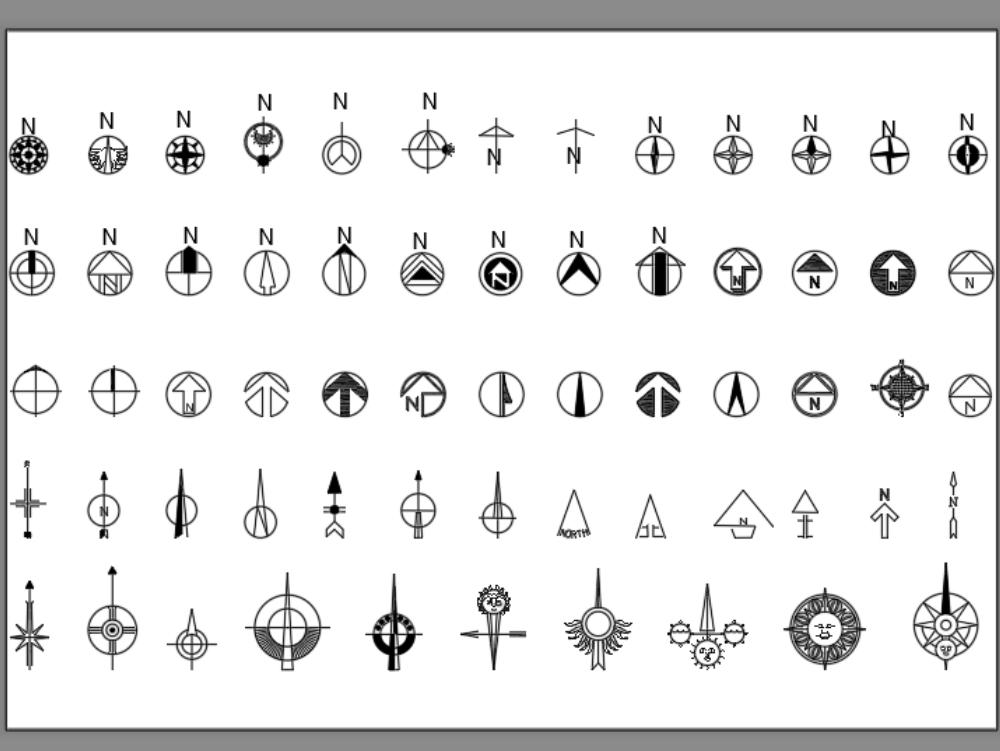 Símbolos dé nortes magnéticos para autocad
