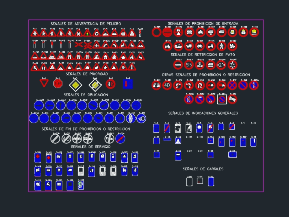 Señalizacion vehicular en archivo dwg