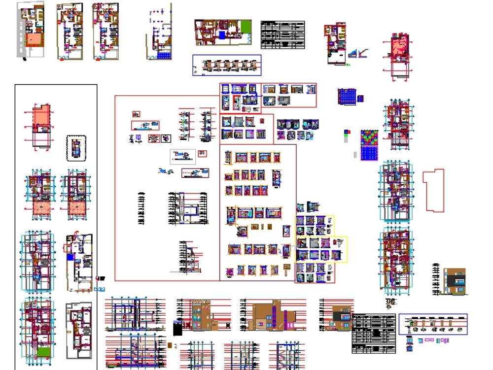 Una residencia 3bhk con todos los dibujos de trabajo.