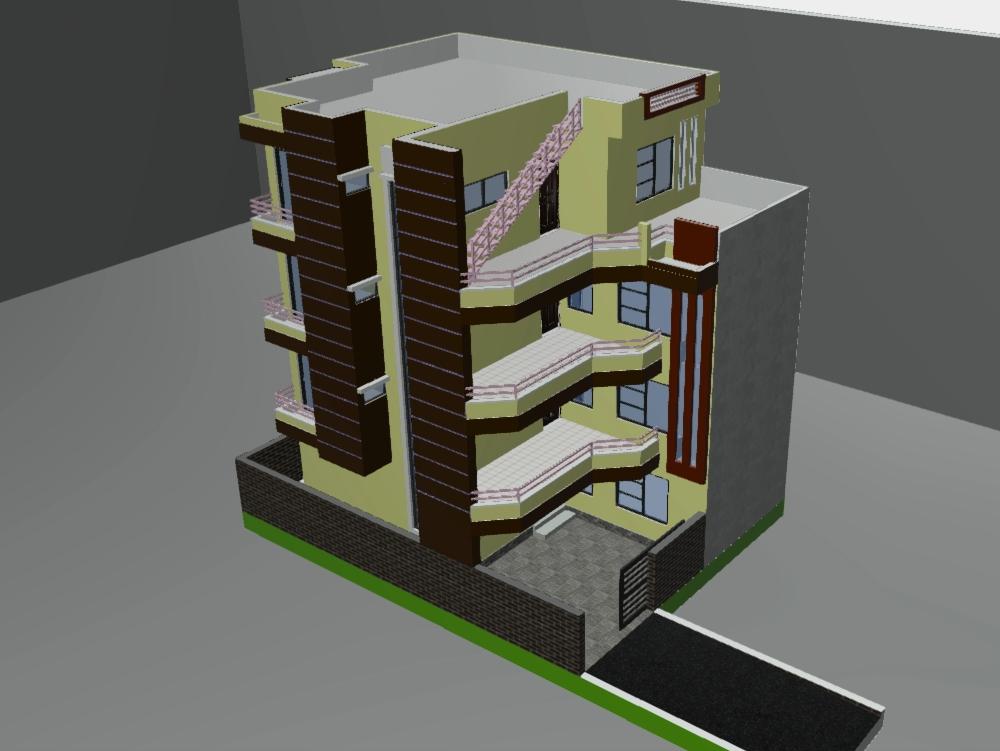 Edificio residencial de 3 pisos y medio