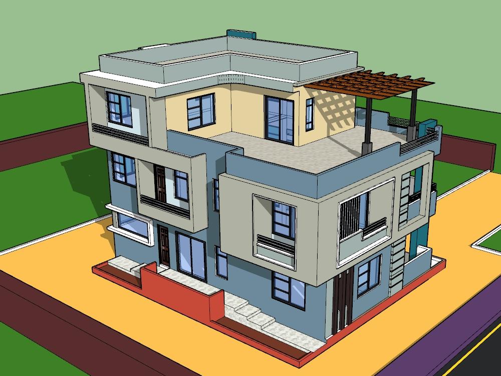 3d de un diseño de bungalow de casa moderna