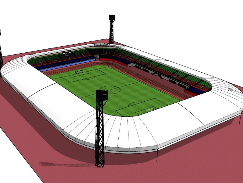 3d design of international football stadium