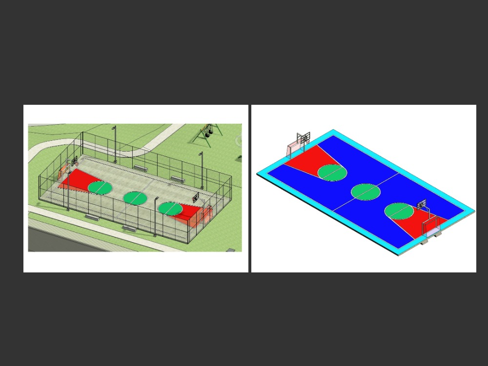Basketball court and boards with goal