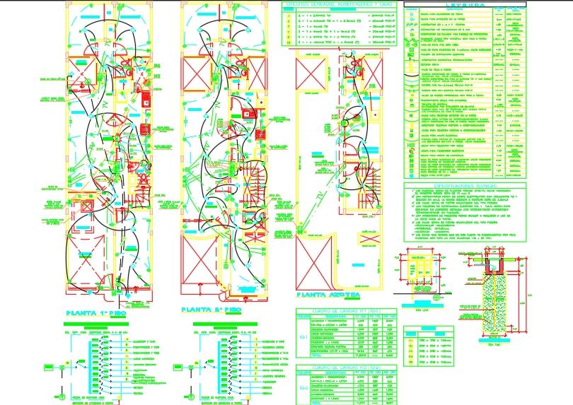 Plano eléctrico de vivienda con ascensor