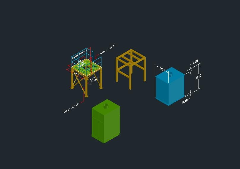 Plataforma de acero y cajas contenedores