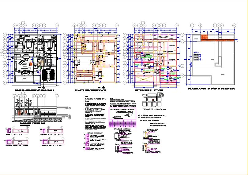 Plano estructural casa habitacion 1 piso