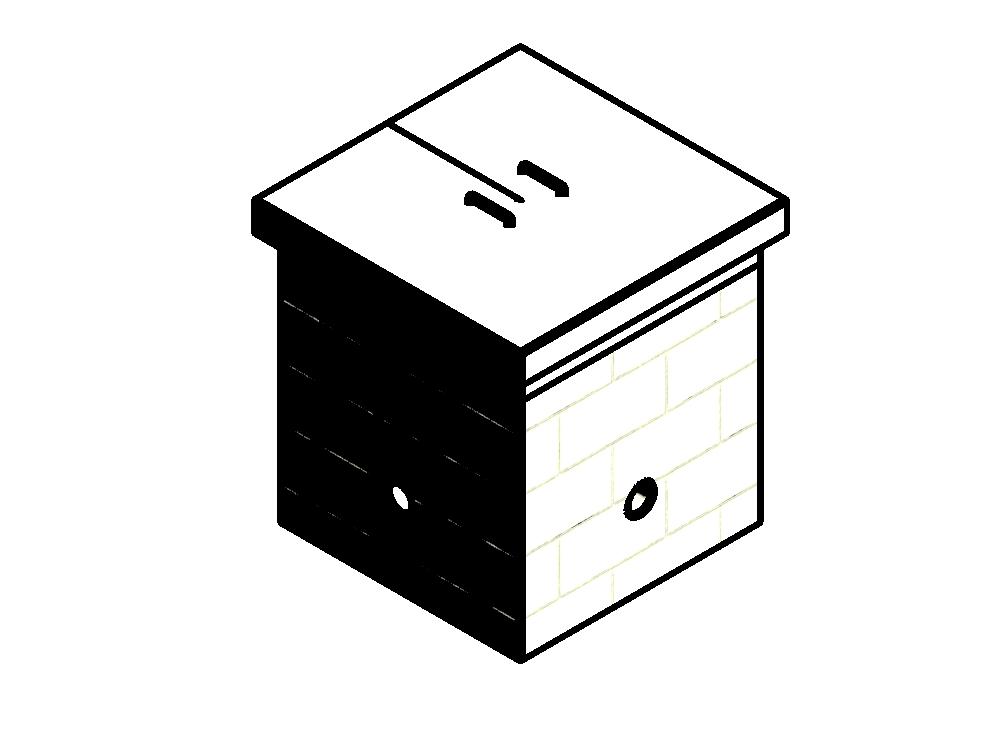 Modelo 3d caja de registro eléctrica típica