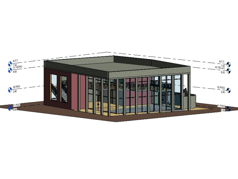 Modelo 3d de salon de usos multiples
