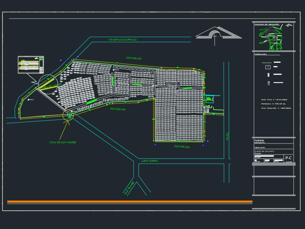 Panteón y distribución de criptas.