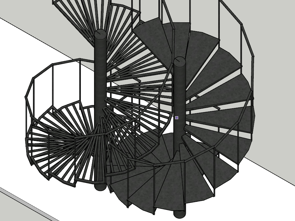 Detail of a spiral staircase modeled in 3d