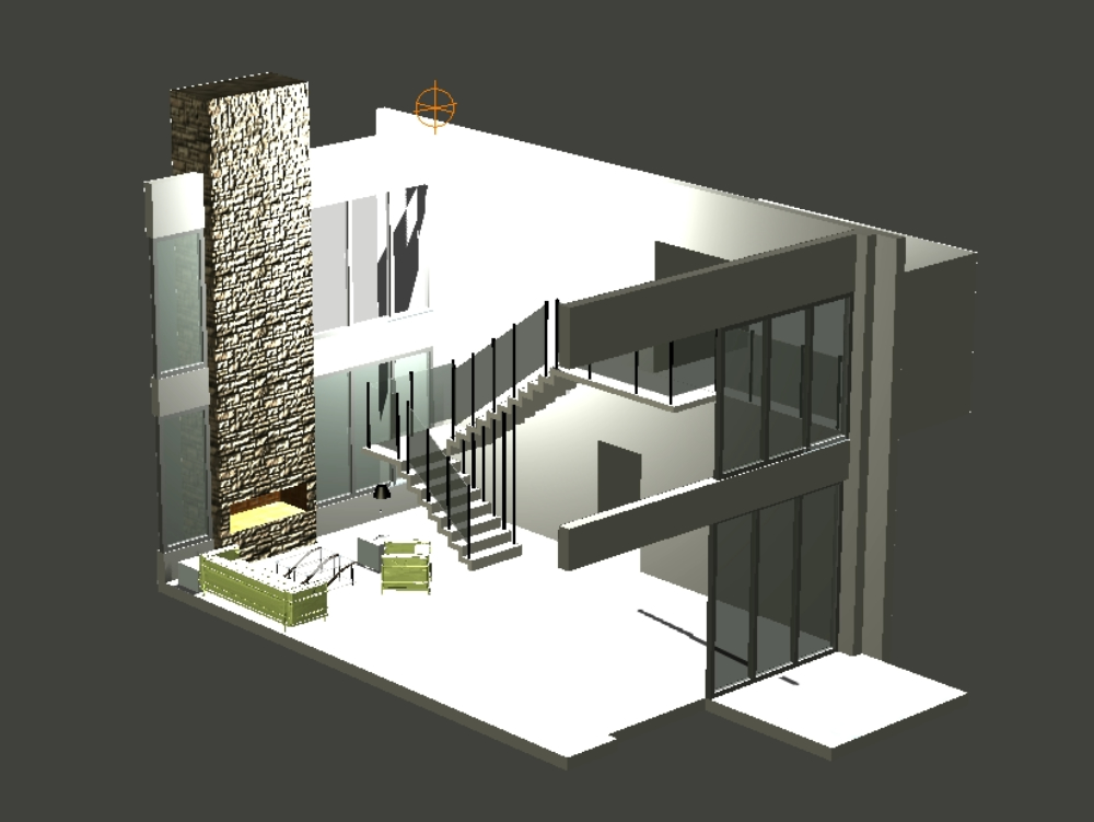 Living 3d double height and staircase with rest