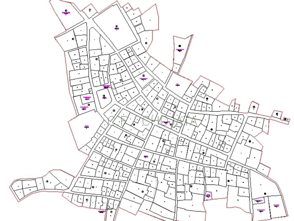 Plano del área urbana del distrito de chojata