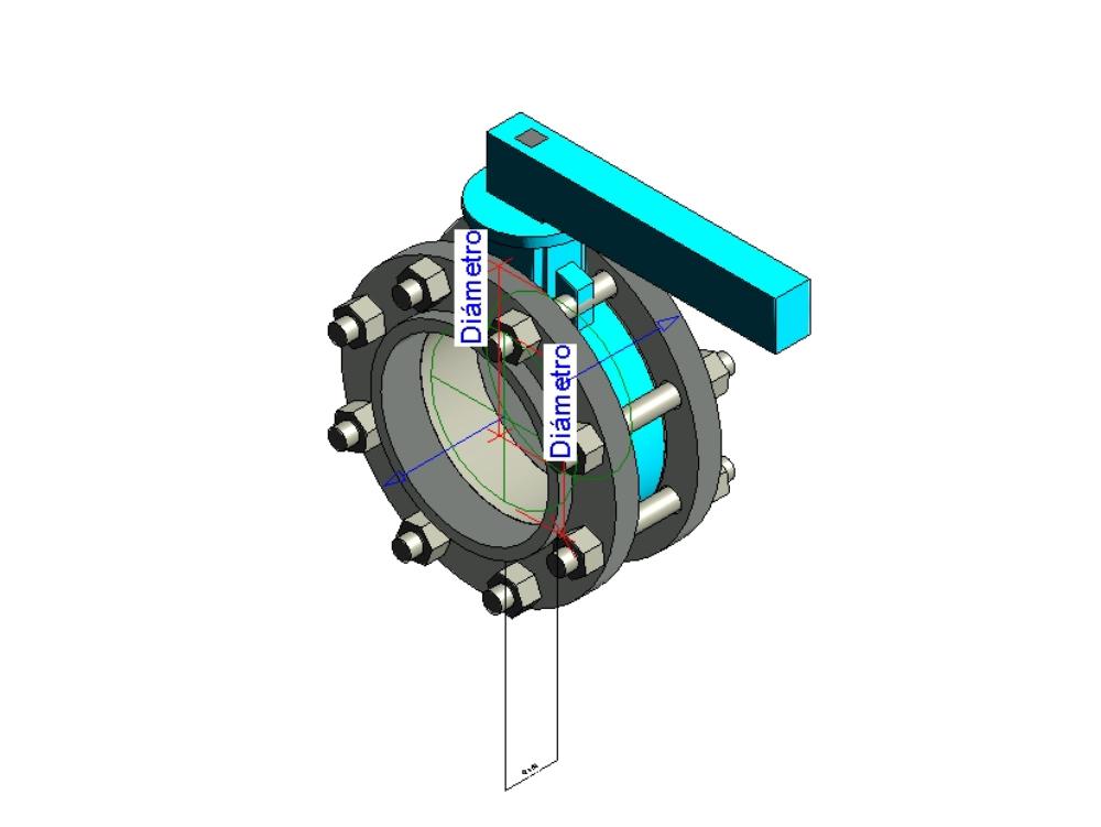 Parameterized butterfly valve dn3 @ 6