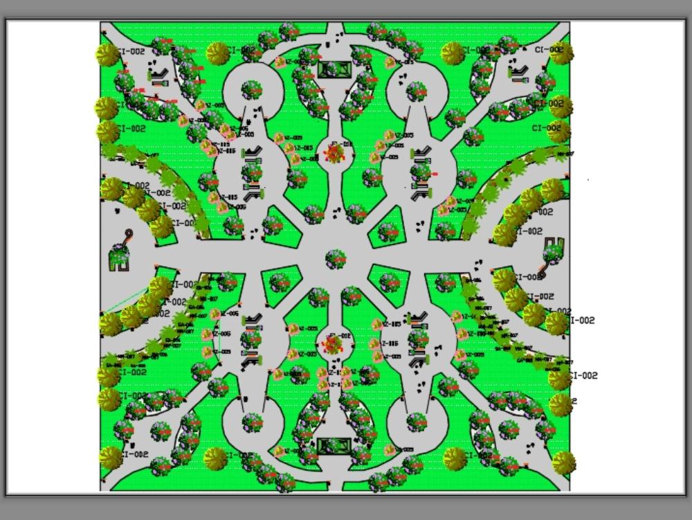 Parque central urbanista con especificaciones.