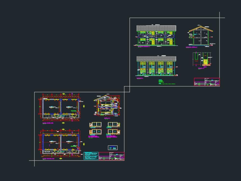 Arquitectura planta y corte de aula