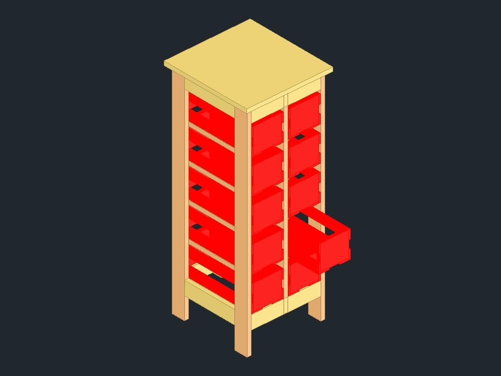 Rack de almacenamiento de cd con cajón abierto
