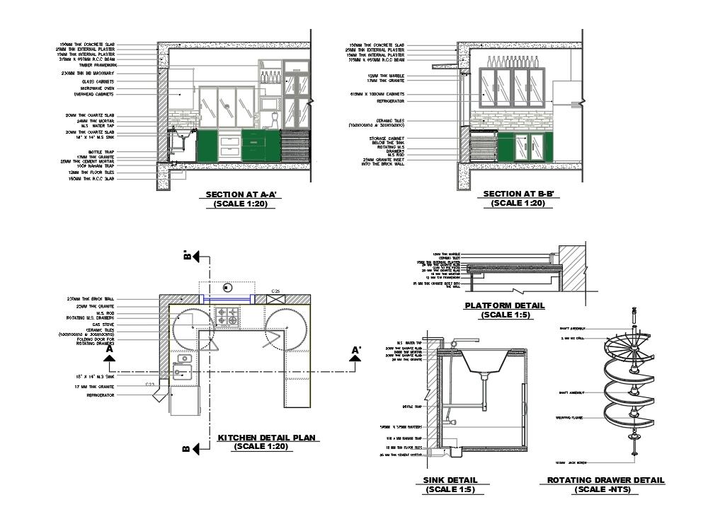 Detalles de dibujo de cocina wd con cajones giratorios