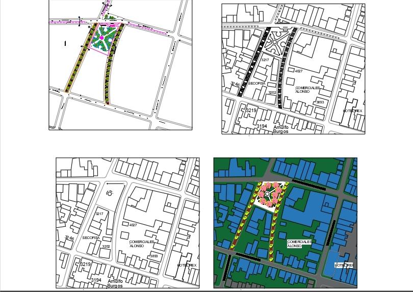 Renovierter Park und Fußgängerzonen