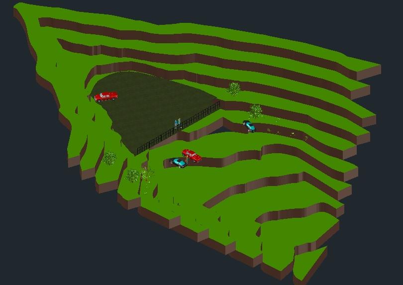 3D-Parkrampe auf Bahnsteigen