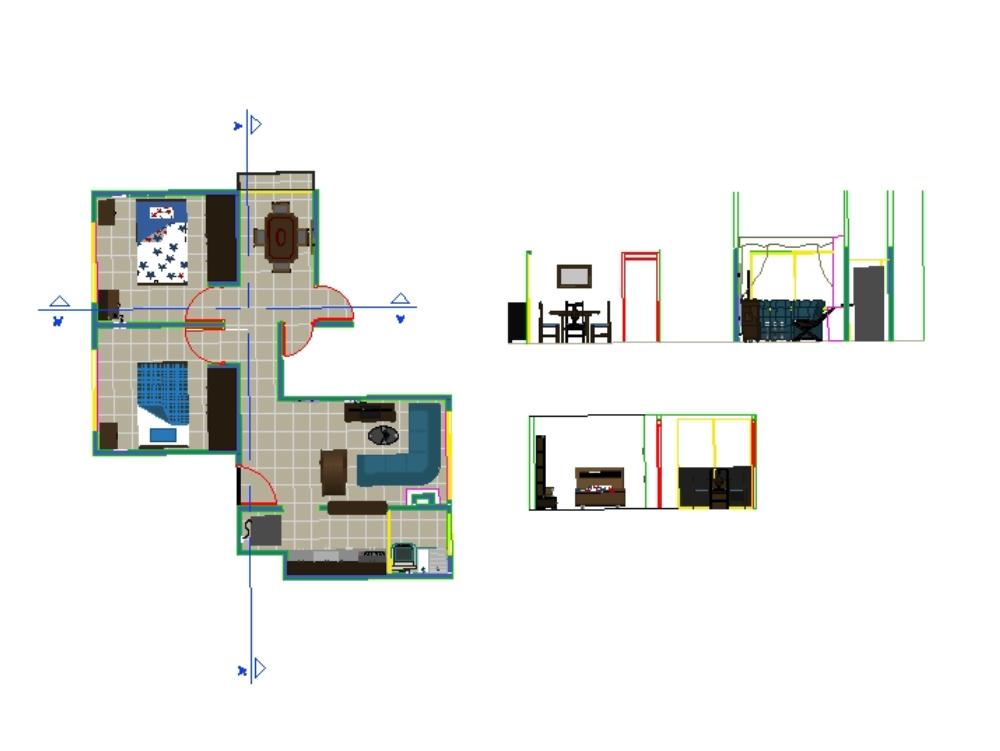 Apartment plan in 2d autocad ..