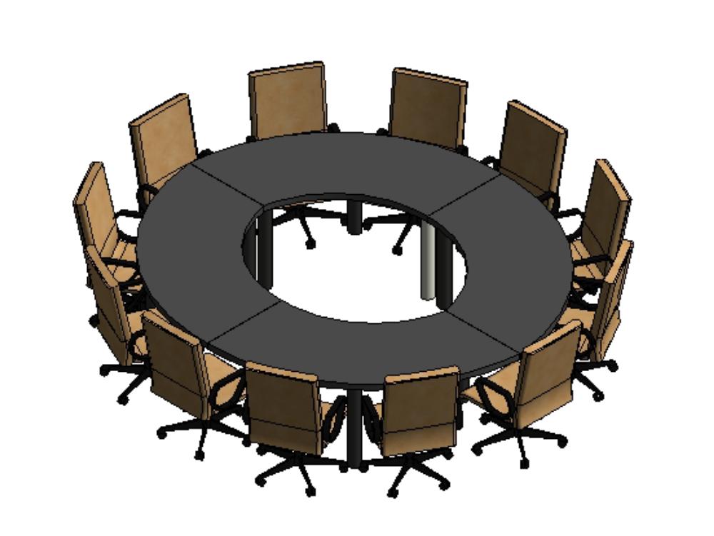 Mesa de conferencia circular con sillas