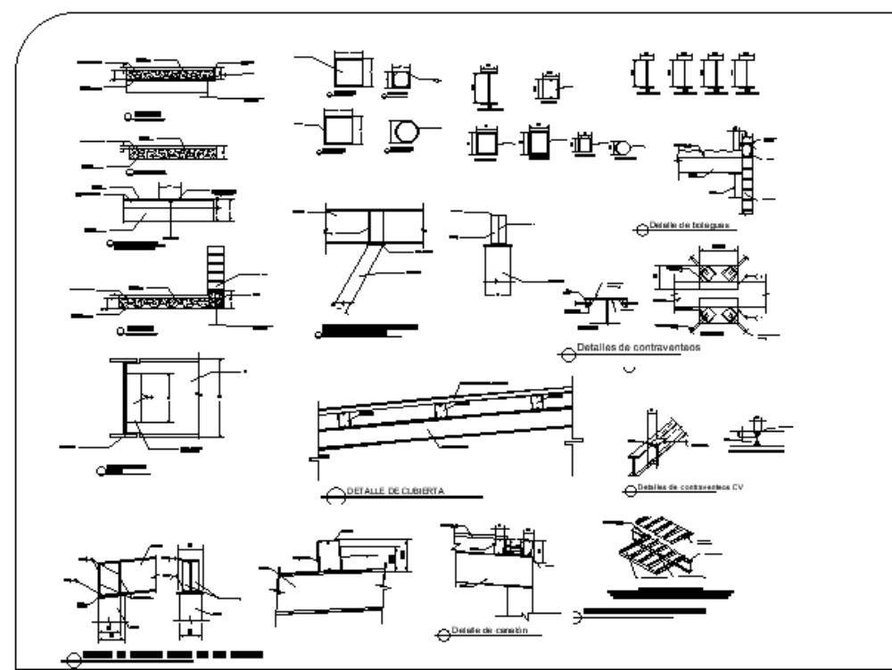 Plano estructural de acero de bodega
