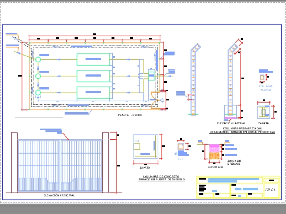Perimeter fence plan with prefabricated columns