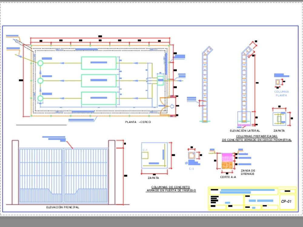 Plano de cerco perimétrico con columnas prefabricadas