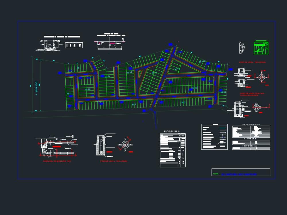 Plano arquitectónico de alcantarillado