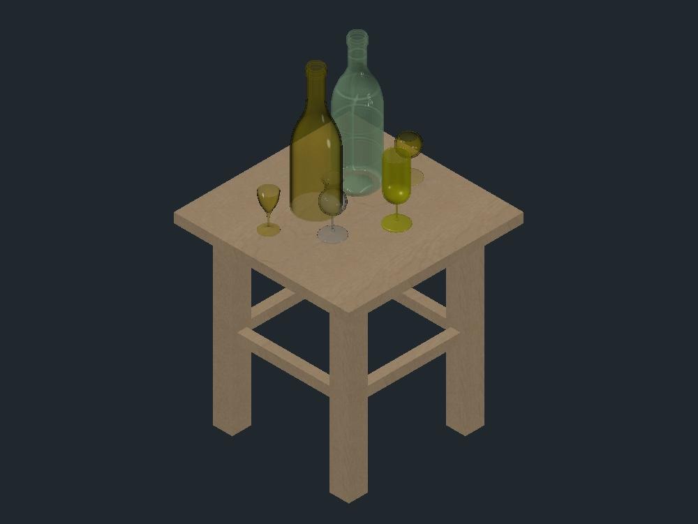 Mesa con copas y botellas en modelo 3d