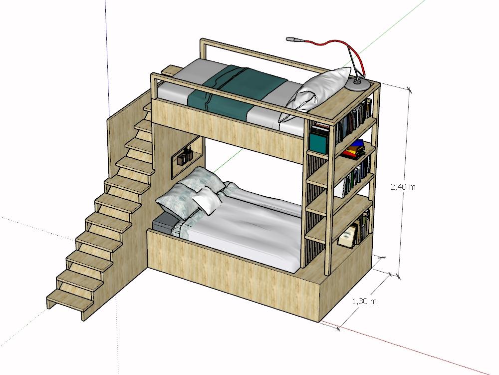 Wooden multifunctional bed for children 3d