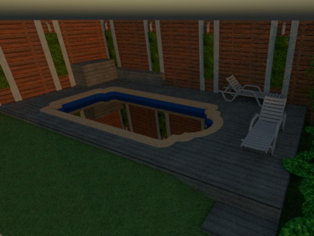Patio piscina terminación deck en piso y muro