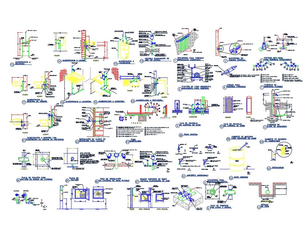Variedad de detalles hidráulicos