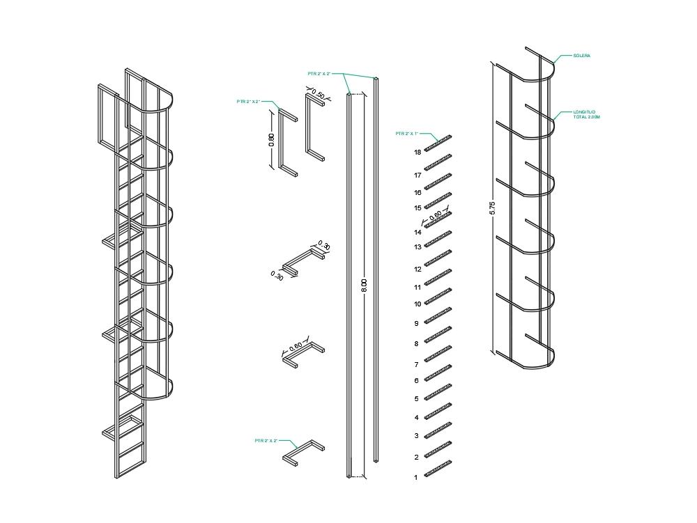 Blacksmithing and cutting ladder